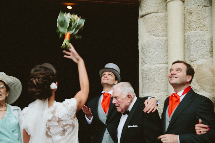 Bouquet toss at the church way out