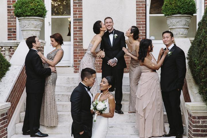 Wedding couple and wedding guests