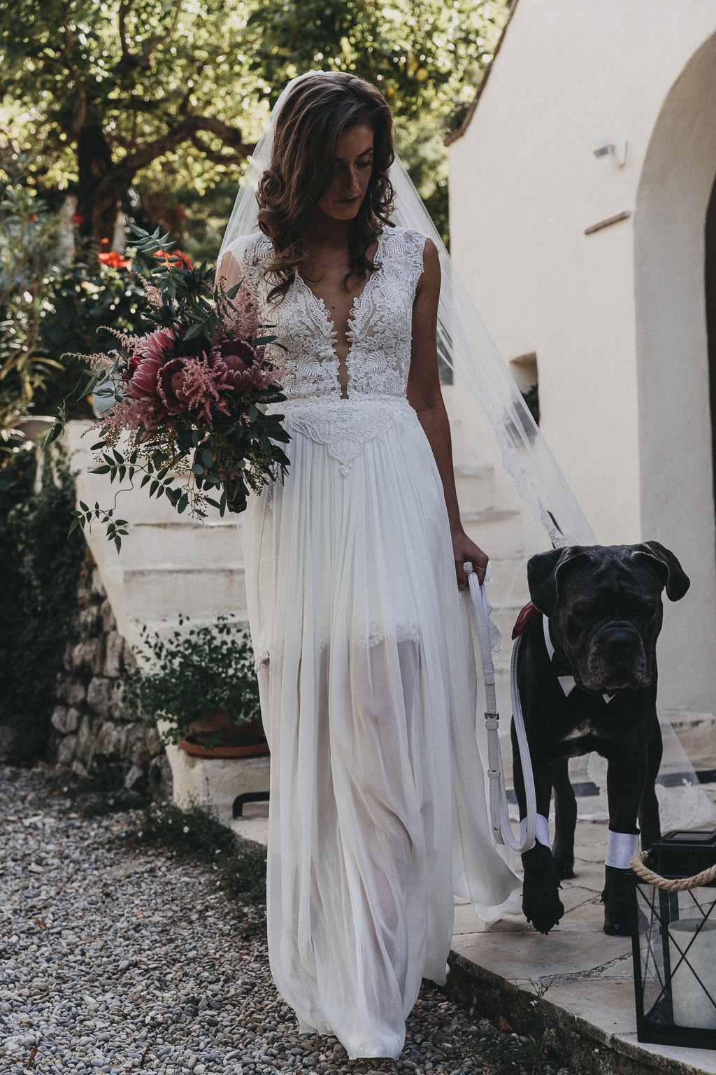 Bride and a dog