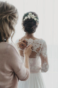 Bridal hairstyle with crown of roses